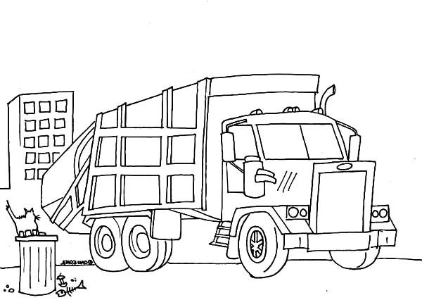 Garbage Truck, : Garbage Truck Cleaning Our Environment Coloring Pages
