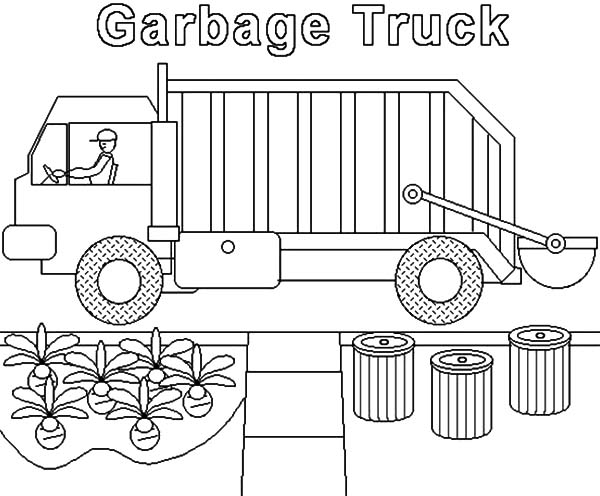 Garbage Truck, : Garbage Truck Collecting Home Waste Coloring Pages