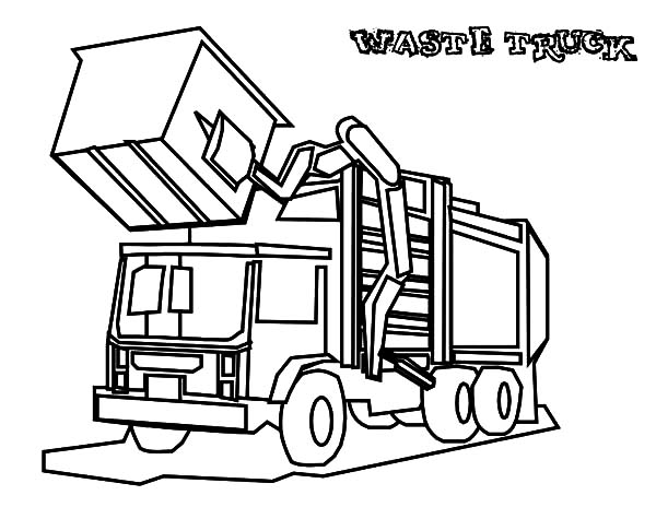 Garbage Truck, : Garbage Waste Truck Coloring Pages