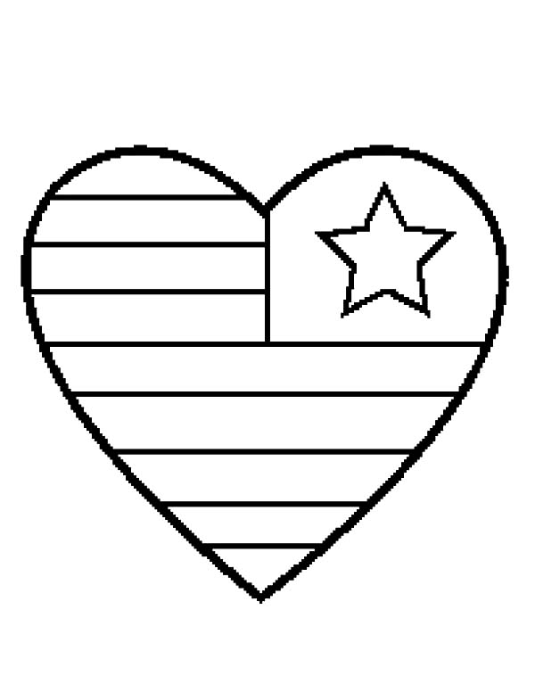 Beautiful American Flag Heart Coloring Pages Images Coloring