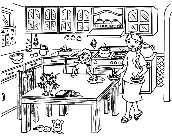 Helping Mom Cleaning Table Kitchen Coloring Pages Download