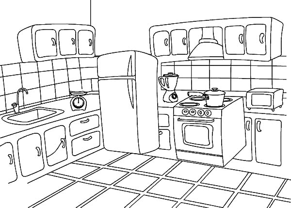 How To Draw Kitchen Coloring Pages