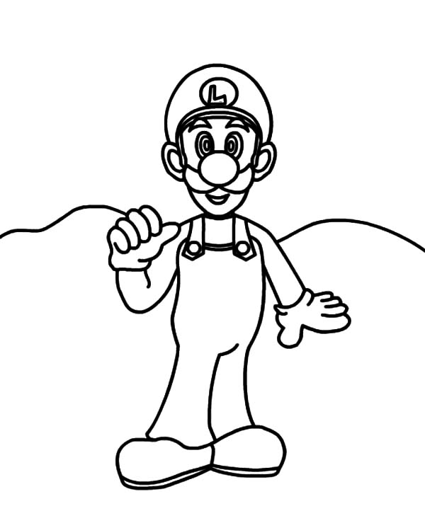How to Draw Luigi Coloring Pages