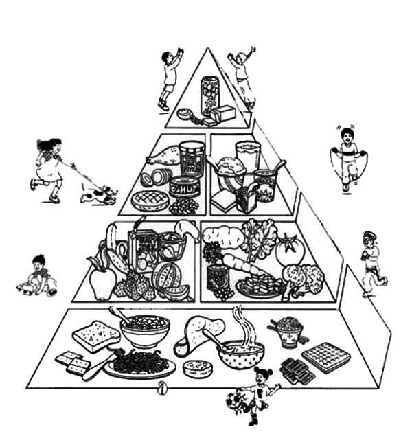 Interesting Food Guide Pyramid Coloring Pages