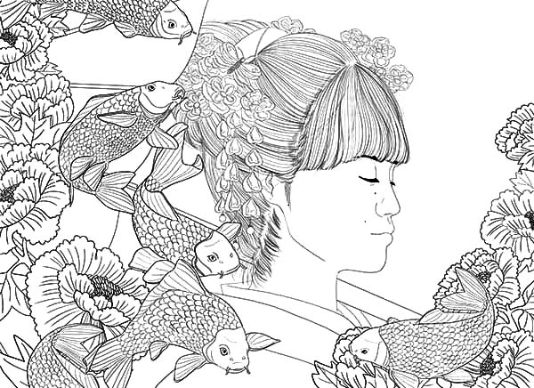 japanese girl and koi fish painting coloring pages - Koi Fish Coloring Pages