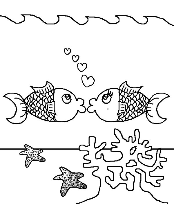 Kissing Fish Above Coral Reef Coloring Pages: Kissing Fish Above ...