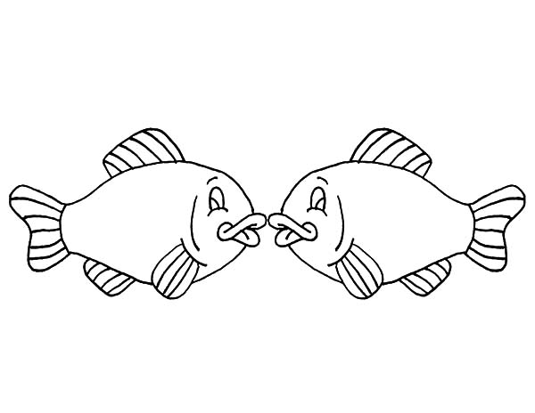 fishes kissing coloring pages - photo#9