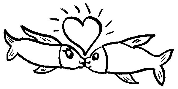 Kissing Fish Under Shining Heart Coloring Pages