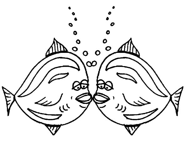 Kissing Fish With Bubbles Coloring Pages