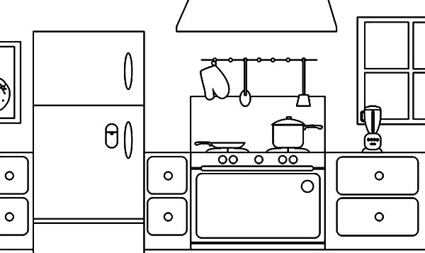 coloring page parts of a house kitchen Download Print Online