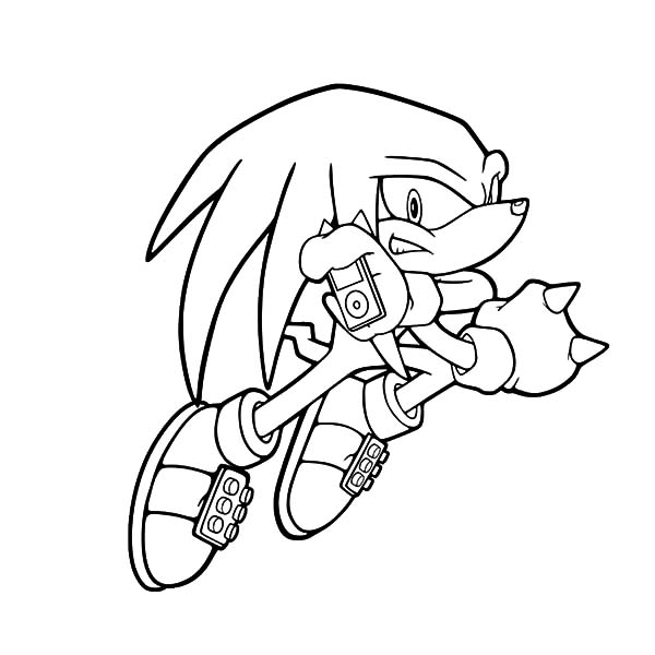 Knuckles Listening to His iPod Coloring Pages