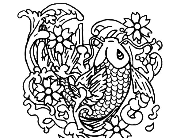 Koi Fish Bring Fortune To People Coloring Pages