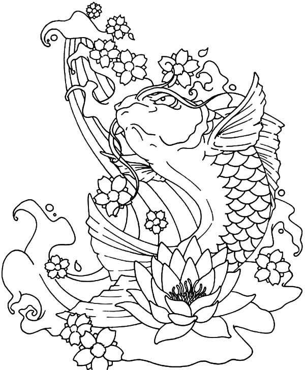 Koi Fish Jumping Out of Water Coloring Pages Koi Fish Jumping Out