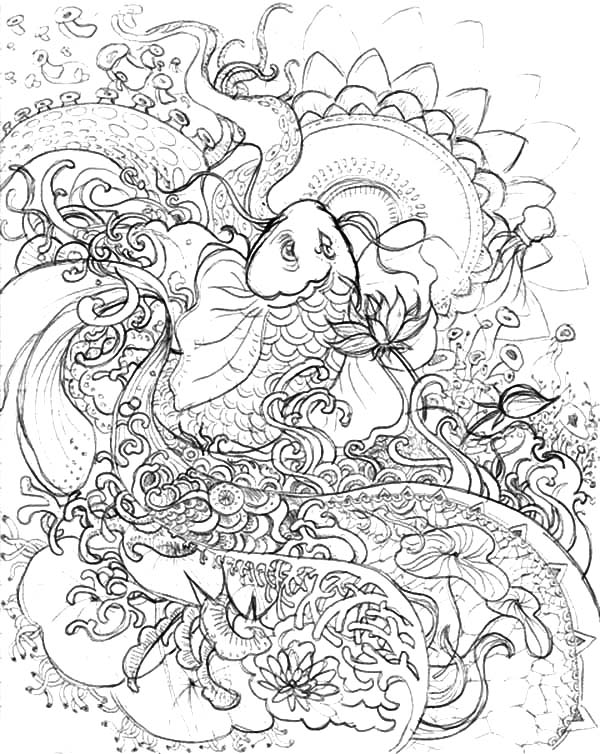 Koi Fish Pencil Sketch Coloring Pages - Download & Print Online ...