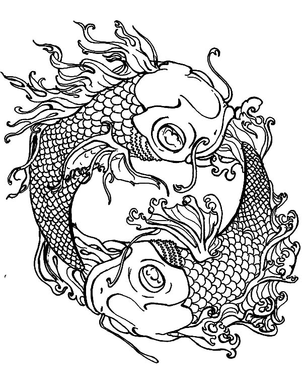 Koi Fish Yin Yang Coloring Pages