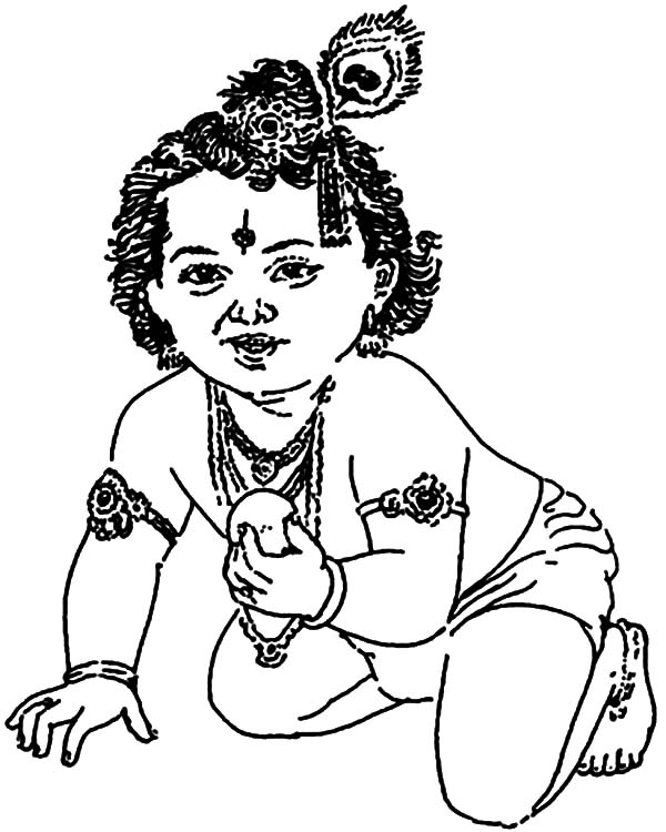 Krishna Butter Lover Coloring Pages