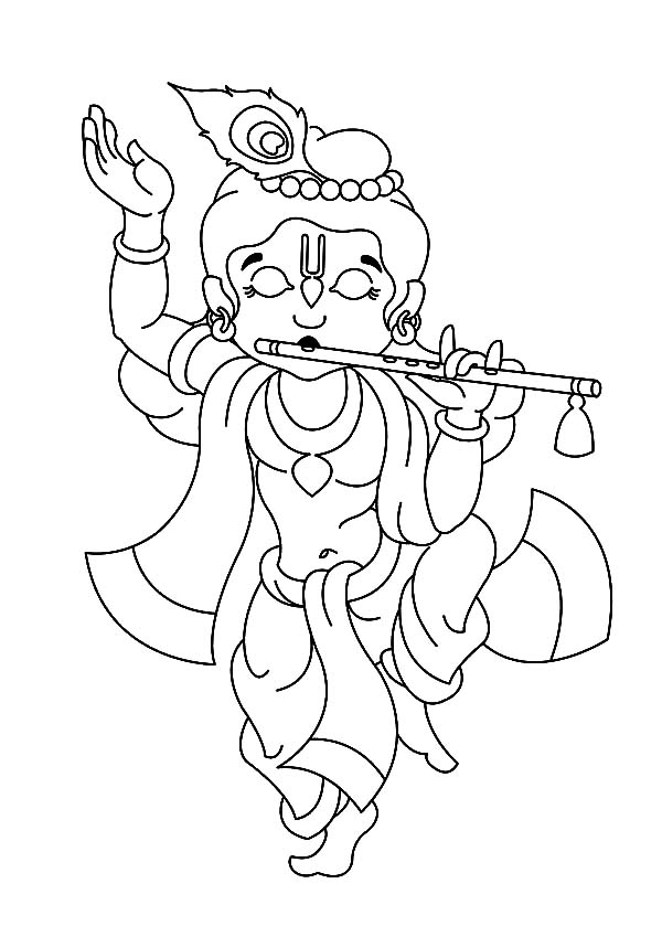 Krishna dancing with playing flute coloring pages for Krishna coloring pages