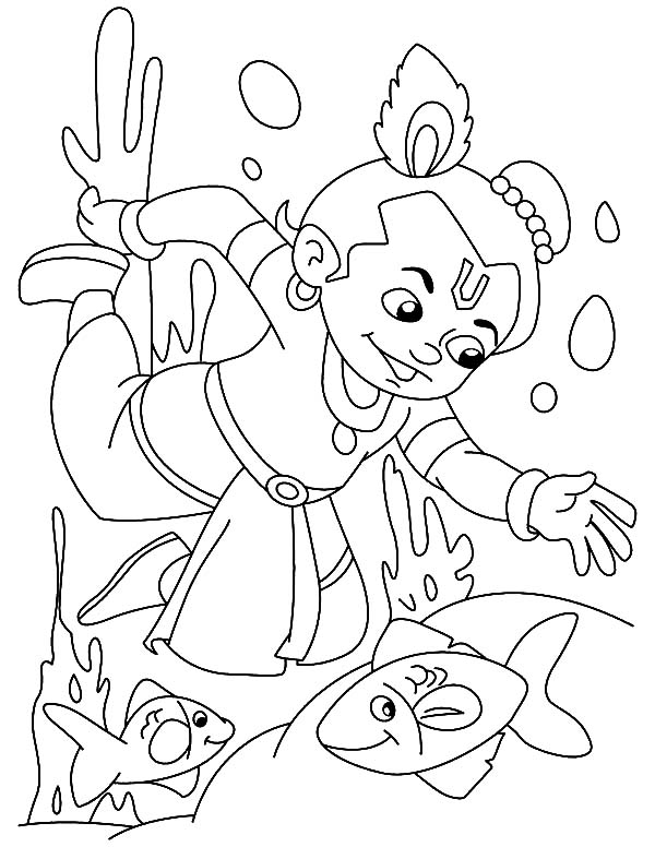 Krishna Dive to the Bottom of the River Coloring Pages
