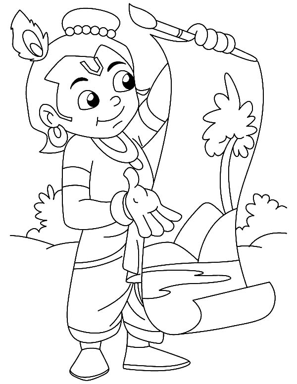 Krishna Done Painting Coloring Pages