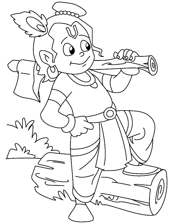 Krishna Making Firewood Coloring Pages
