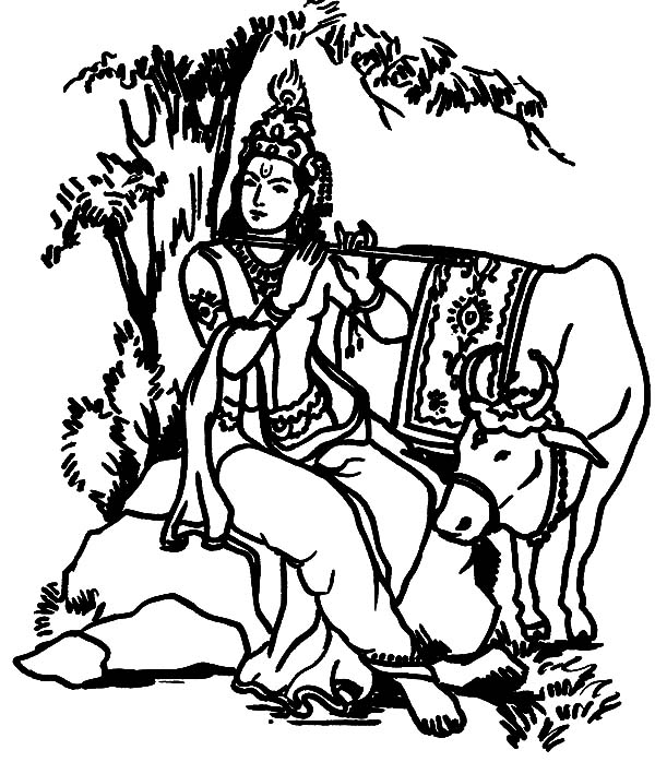 Krishna Playing Flute in Front of Holy Cow Coloring Pages