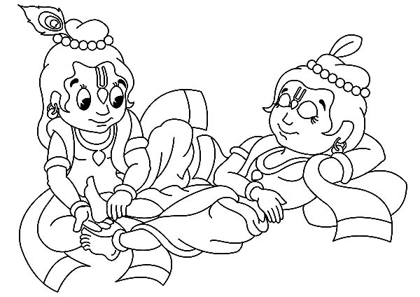 Bal krishna free coloring pages for Krishna coloring pages