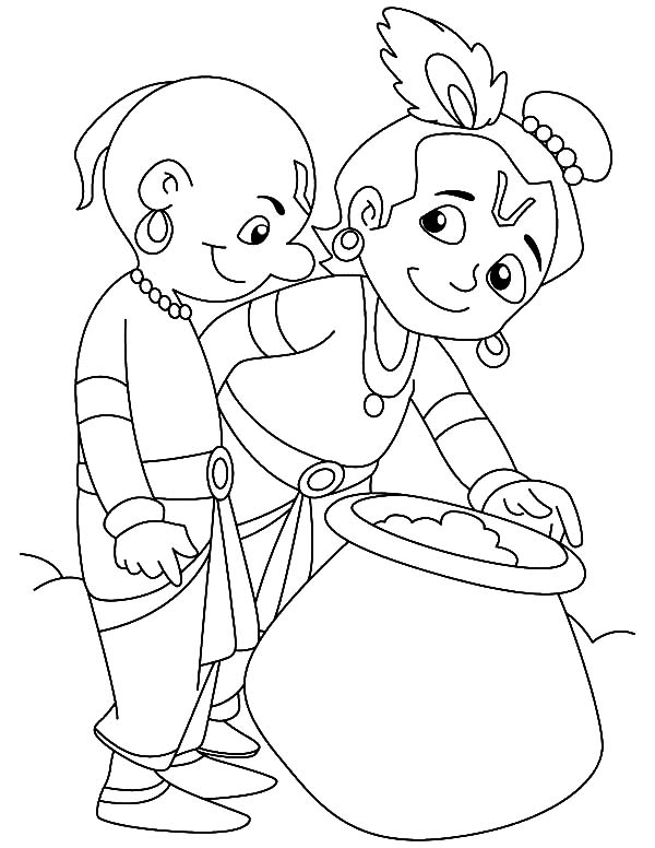 Krishna Share Butter with Friend Coloring Pages
