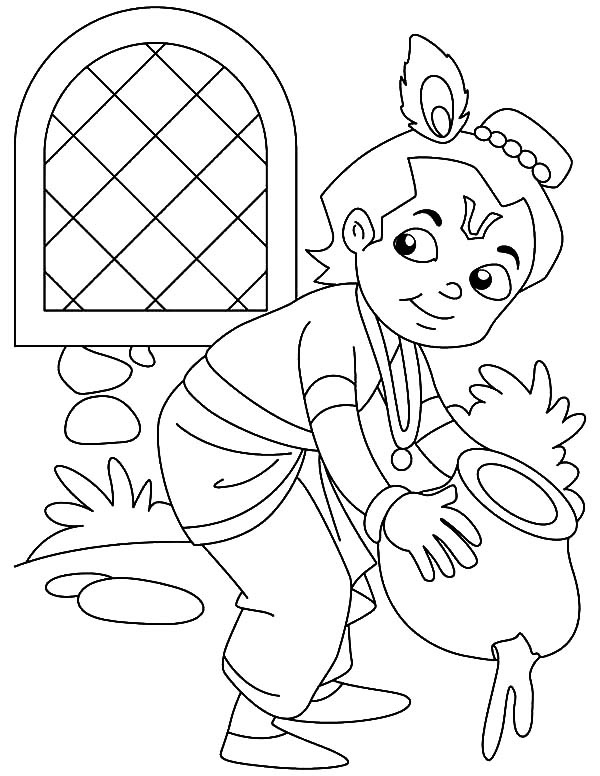 Krishna Stealing Butter Coloring Pages  Download  Print Online
