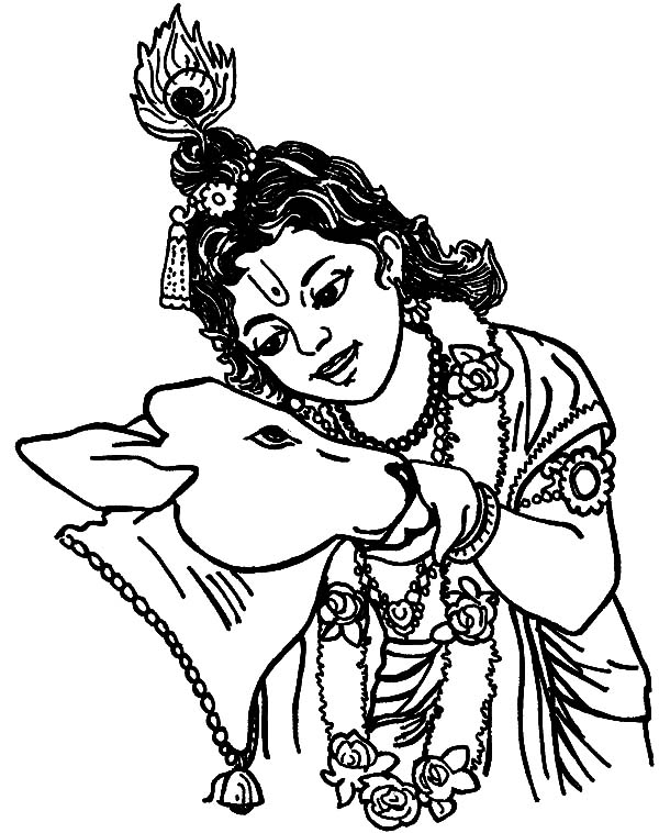Krishna Talking to Holy Cow Coloring Pages