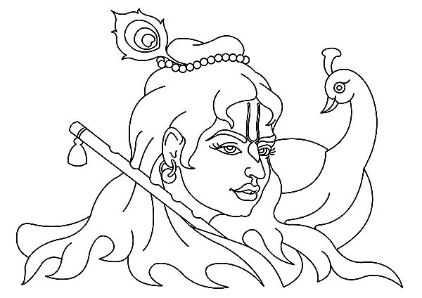 krishna krishna and peacock coloring pages krishna and peacock coloring pagesfull size image - Peacock Coloring Pages