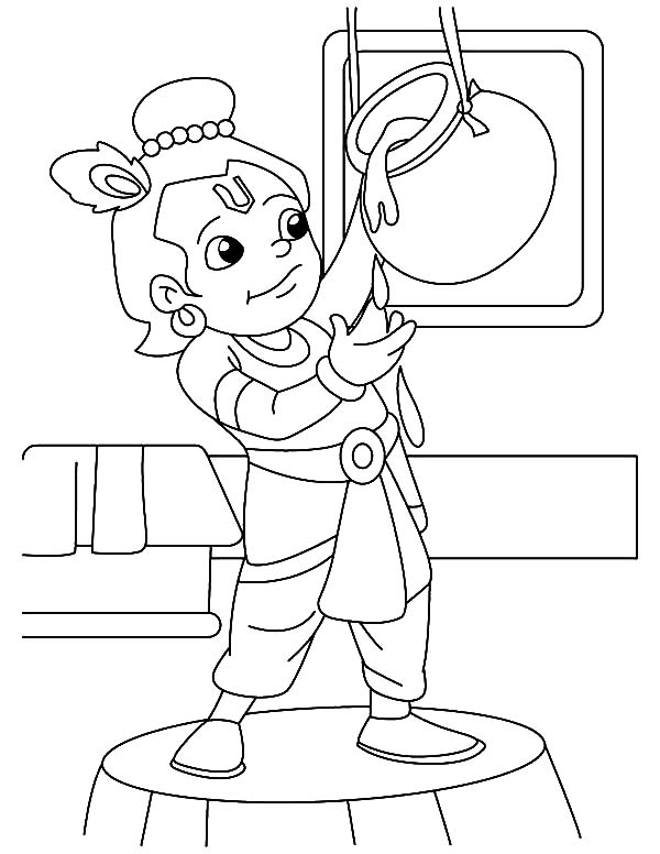 Krishna is Butter Lover Coloring Pages