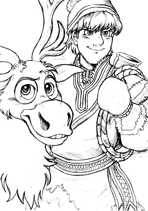 Kristoff Loyal Friend Sven the Reindeer Coloring Pages - Download ...