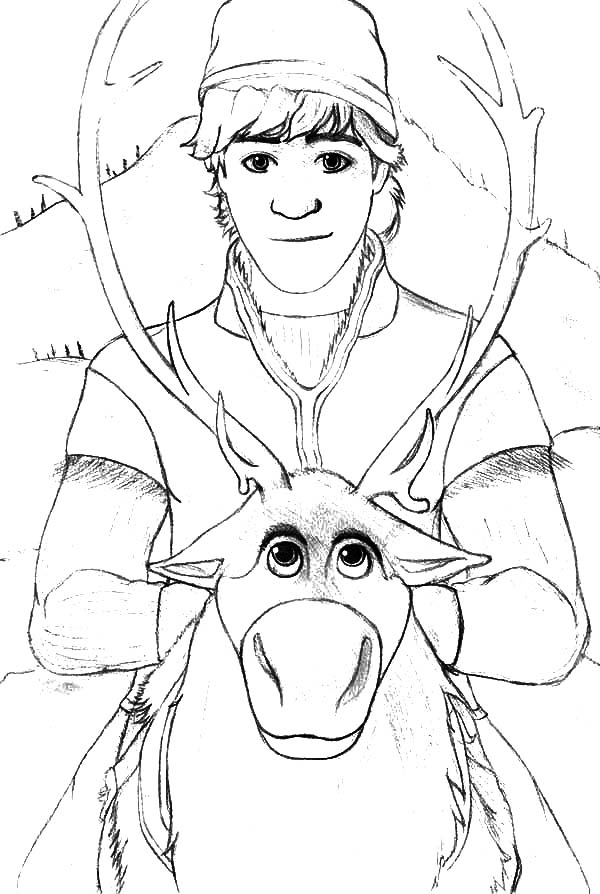 Kristoff ride on sven coloring pages download print for Sven coloring pages