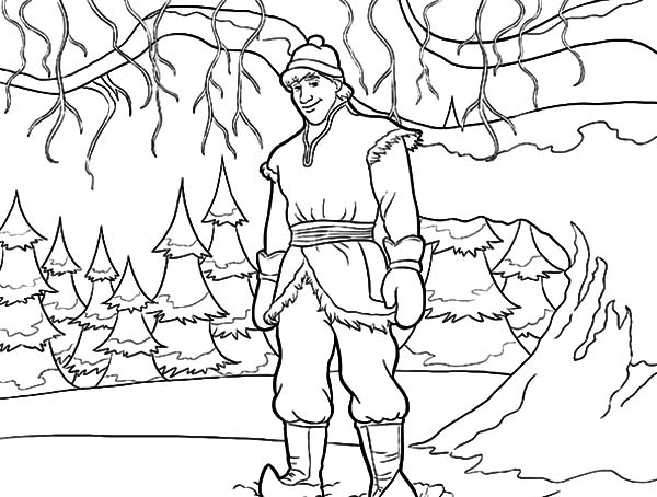 Kristoff Standing Under Tree Coloring Pages