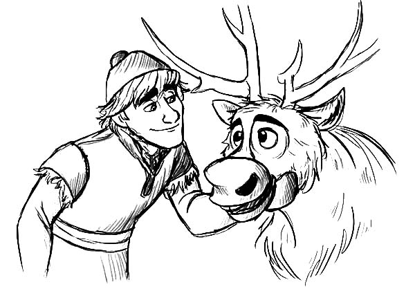 Kristoff teasing sven coloring pages download print for Sven coloring pages