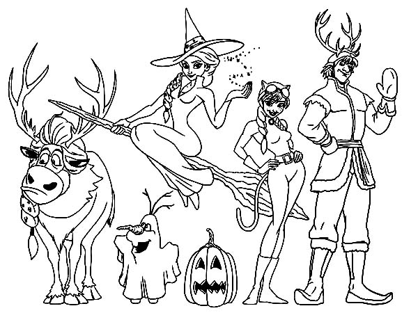 Kristoff And Friends On Halloween Coloring Pages
