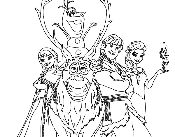 Kristoff And Other Frozen Characters Coloring Pages