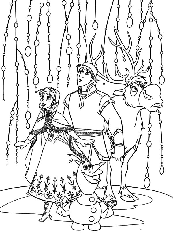 Kristoff And Princess Anna Amazed With Beautiful Ice Curtain Coloring Pages