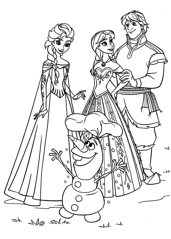 Kristoff And Princess Anna Gather With Queen Elsa And Olaf
