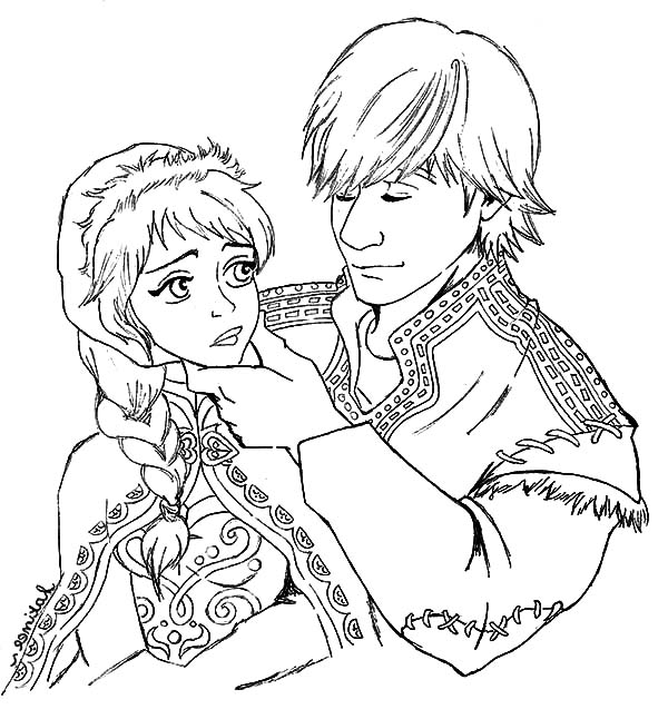 Kristoff And Princess Anna Lover Couple Coloring Pages