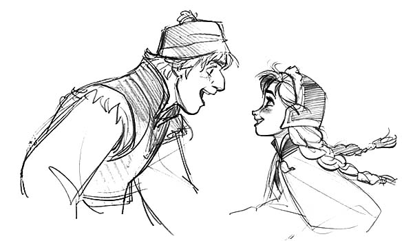 Kristoff is Happy He Met Princess Anna Coloring Pages