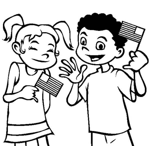 Flag Day Laughing Waving Flags On Coloring Pages