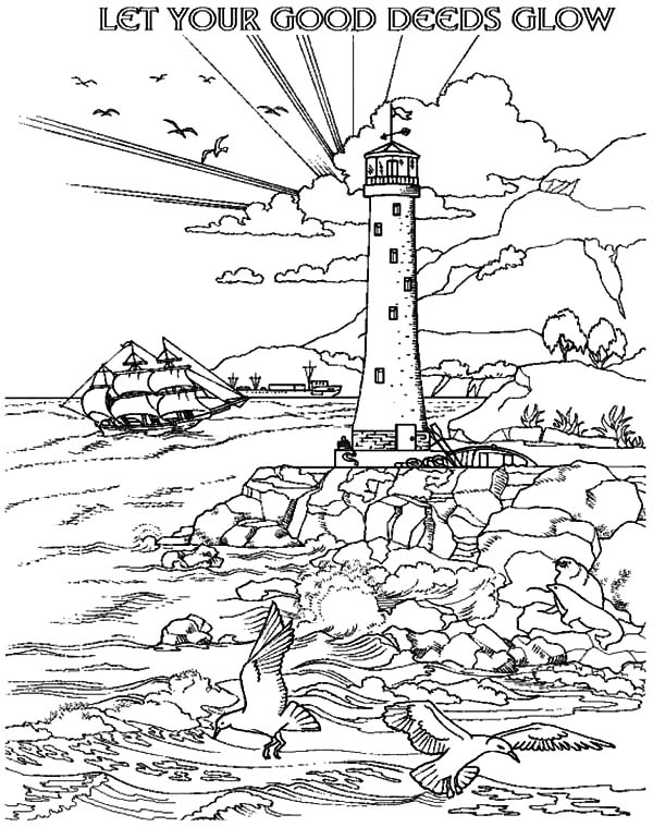 let your good deeds glow with lighthouse coloring pages - Coloring Pages Free