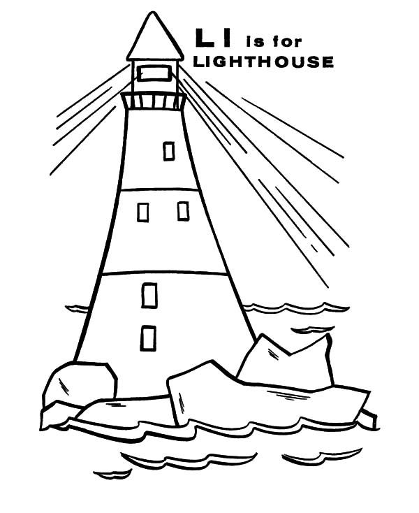 Letter L is for Lighthouse Coloring Pages - Download & Print Online ...