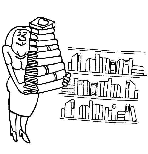 librarian lifting a pile of books in library coloring pages