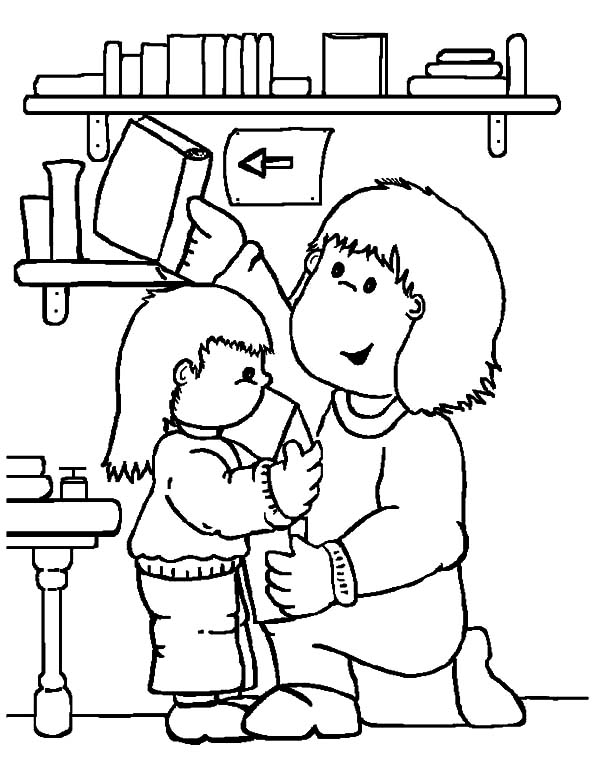 Librarian is People Who Help Us at Library Coloring Pages Download