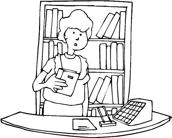 librarian coloring pages | Library Front Desk Coloring Pages - Download & Print ...