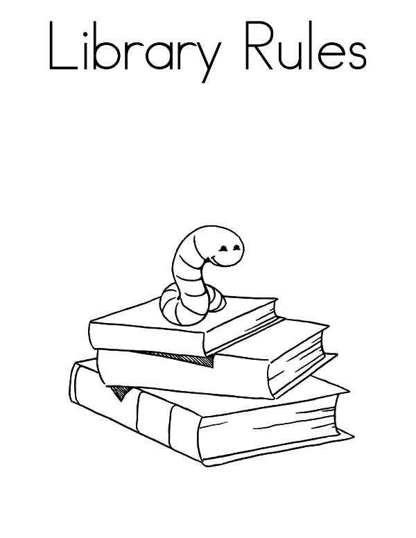 Library Rules Book Coloring Pages - Coloring Page For Library