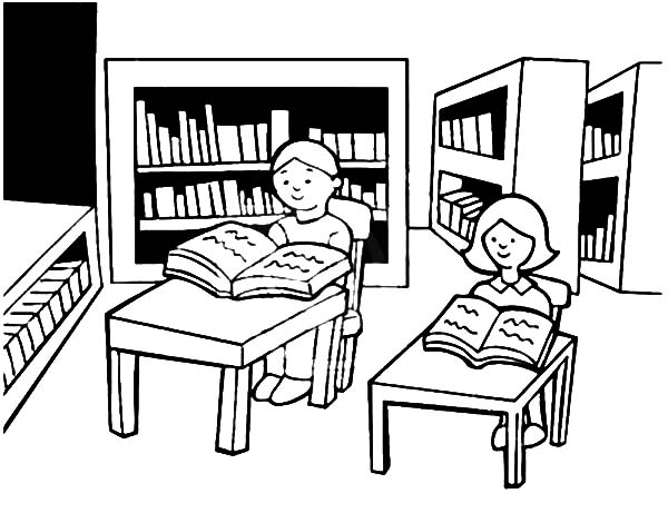 Library is a Place for Student Study Coloring Pages Download