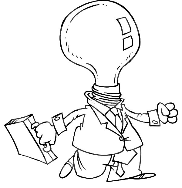 Light Bulb Headed Businessman Coloring Pages